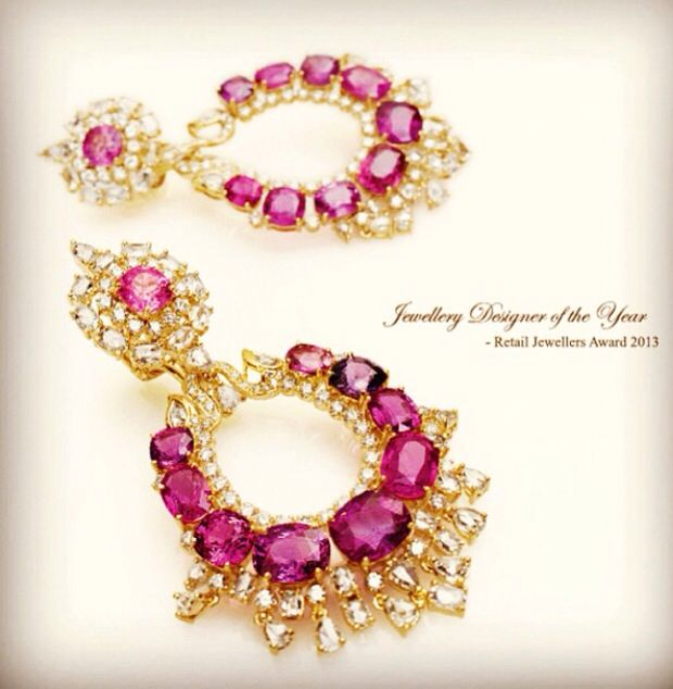 Farah Khan fine jewellery. Ruby and gold earrings.
