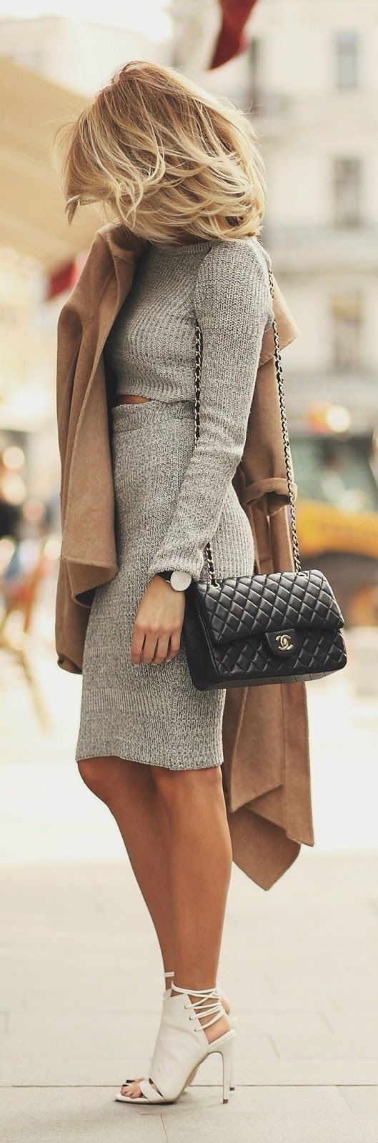 Grey Cropped + Camel Coat.