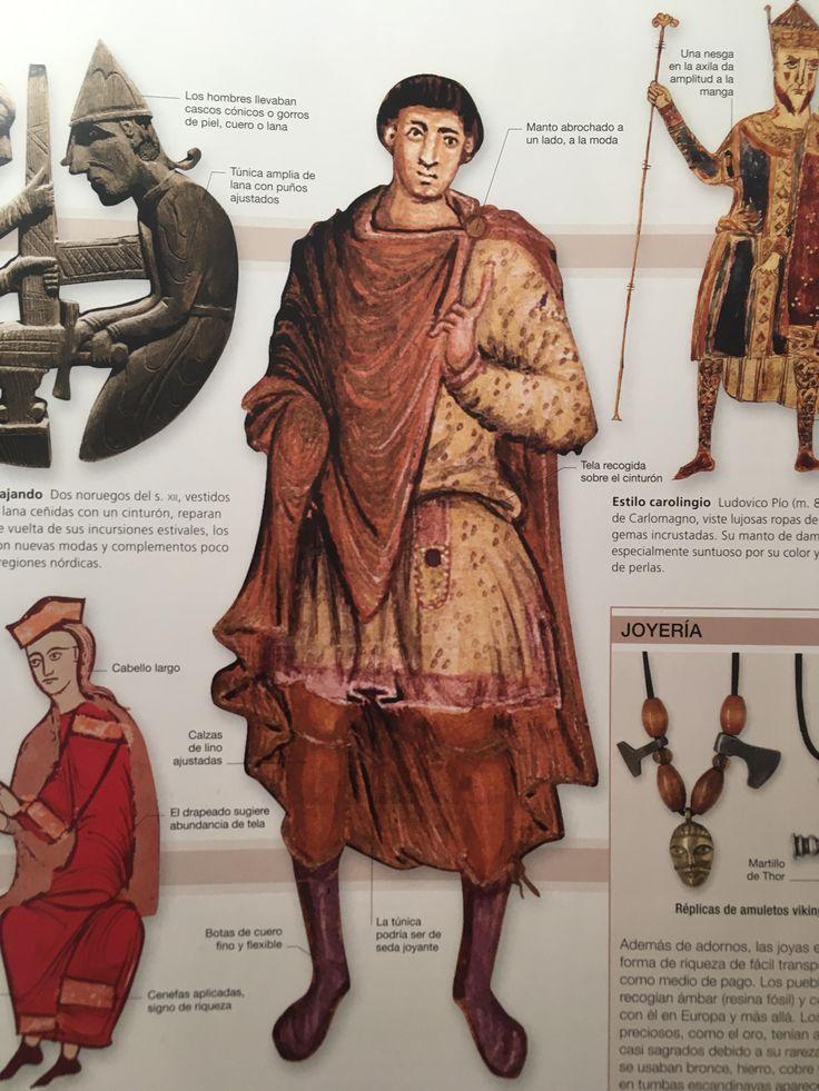 6. EDAD MEDIA: Ambos sexos vestían túnicas o sayas holgadas, hechas con rectángulos de tela cosidos y ceñidas con un cinturón. Encima se llevaban mantos o capas, a veces forrados de pieles que marcaban el estatus social. Como prenda inferior los hombres vestían tubrucos (precursores del pantalón) o calzas largas que se ataban con tiras de lana o cuero por debajo de la rodilla. Bajo la túnica (o sobre el cuerpo, en verano) se llevaban camisas de lino.