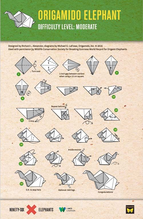 Elephant Origami Folding Instructions | Fold an Origami Elephant We need your help! We're attempting to break the Guinness World Records™ title for the largest display of origami elephants. | 96 Elephants
