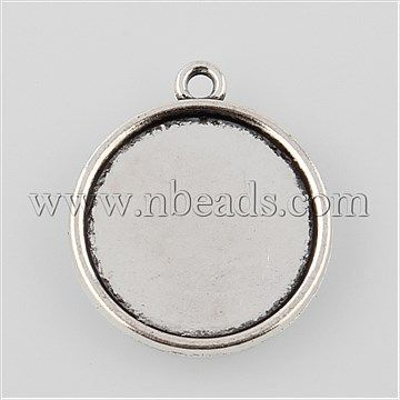 Tibetan Style Antique Silver Alloy Flat Round Pendant Cabochon Settings<P>Size: about 23mm wide, 26mm long, 2mm thick, hole: 1.5mm; hole: 1.5mm; tray: 20mm about 526pcs/1000g.<br/>Priced per 10 pcs