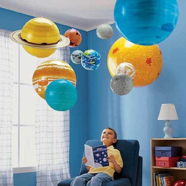 """This inflatable classroom set helps children understand the size and distance relationships of the solar system, while learning about rotation, revolution and orbit through class activities or demonstrations. Includes 36"""" Sun and proportionate planets and moon with sizes ranging from 8"""" to 22"""". Also includes a foot pump, hooks for hanging, and teacher's activity guide. Deflates for easy storage. Via Sciencehipster: http://amzn.to/11reyXw"""
