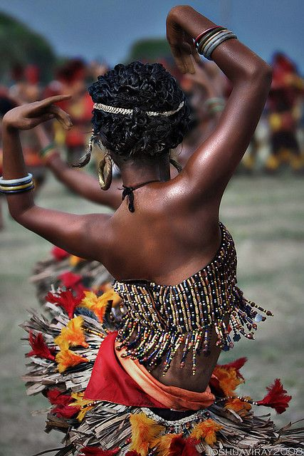 """In Black Africa, many women traditionally pride themselves on being dancers and birthers – endeavours that require uncompromising physical strength, mental clarity, rhythmic integrity, and a direct link to forces greater than themselves. As dancers they give birth, bringing to the birth process the tremendous strength acquired over years of night long and sometimes week-long- 'spirit dances'.honouring of womanhood, the deities, the ancestors, the darkness."