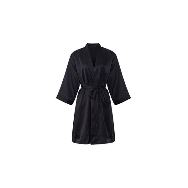 Comfortable Long Sleeved Smooth Silk Loungewear Night-robe ($13) ❤ liked on Polyvore featuring intimates, robes, black, silk loungewear, silk robe, silk bath robes, silk dressing gown and silk bathrobe