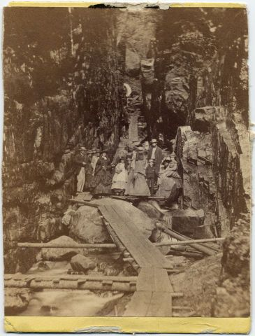 Mary, Robert, and Tad Lincoln at the Flume Gorge in 1863  Mary Lincoln and her sons visited New Hampshire's White Mountains in July-August 1863.