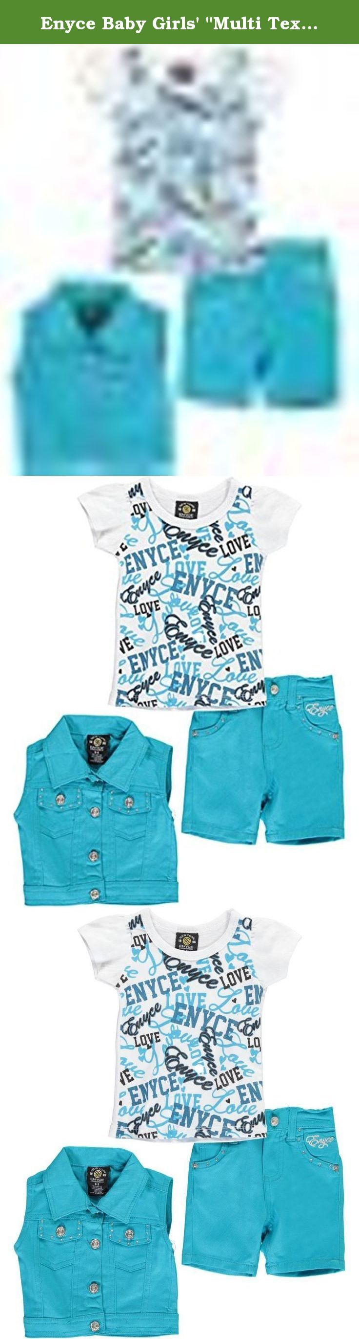 """Enyce Baby Girls' """"Multi Text"""" 3-Piece Layette Set - turquoise, 0 - 3 months. They'll love the soft construction and fun accents of this Enyce 3-piece layette set! Enyce 3-piece layette set Twill vest with button placket and gem accents (100% cotton) Jersey T-shirt with cap sleeves and logo print (100% cotton) Twill shorts with elastic waistband (100% cotton) Machine wash cold, inside out Imported."""