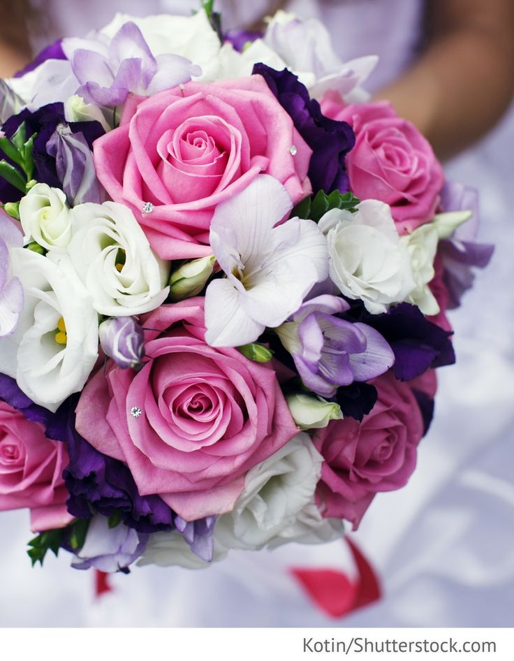 Brautstrauß in pink lila für die Hochzeit