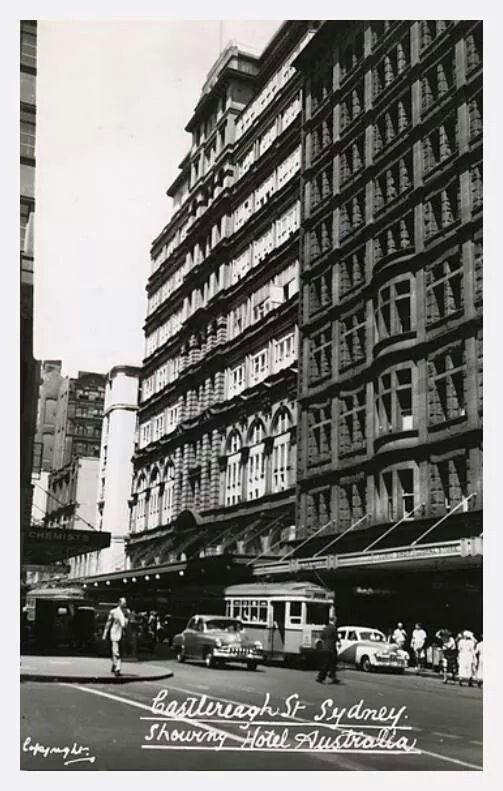 Castlereagh St,Sydney:showing The Hotel Australia.A♥W