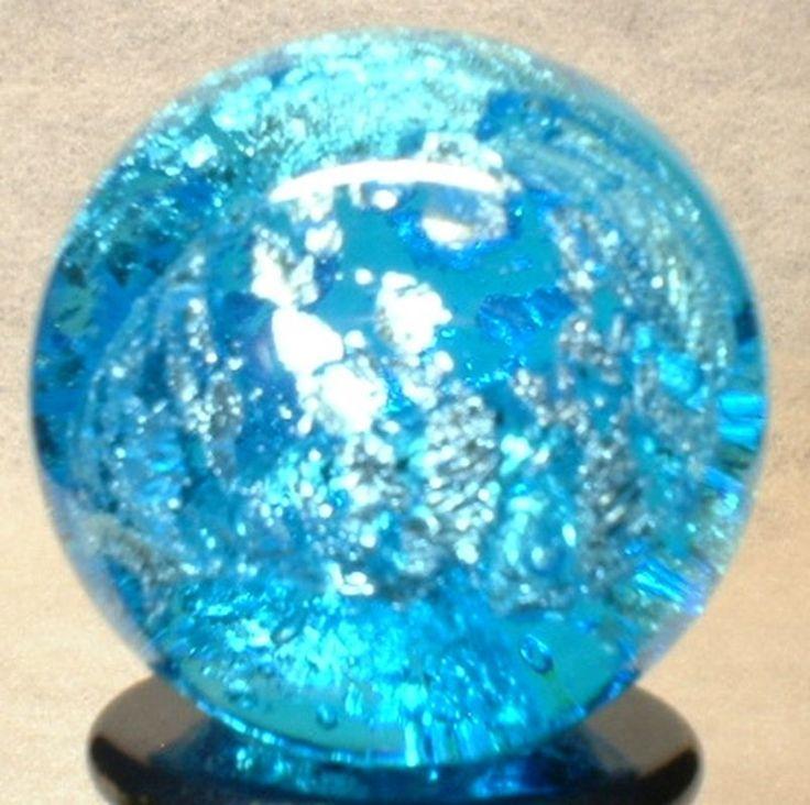 "WILLIS MARBLES - 7/8"" AQUA TRANS FOIL MARBLE - HANDMADE ART GLASS MARBLE | Toys & Hobbies, Marbles | eBay!"
