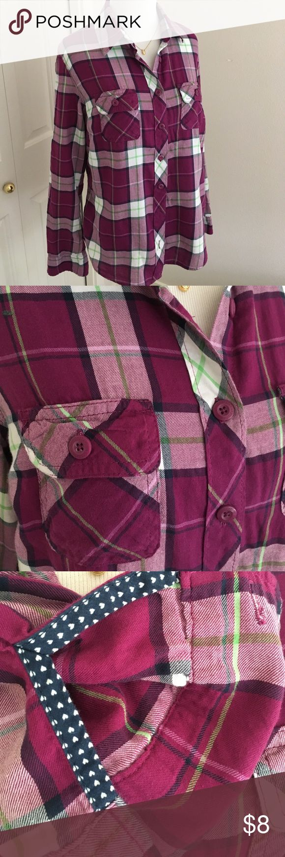 EUC Aeropostale flannel shirts, size L Dark pink flannel shirts with cute navy dots on the inside sleeves. Great used condition, no rips no stains. Aeropostale Tops Blouses