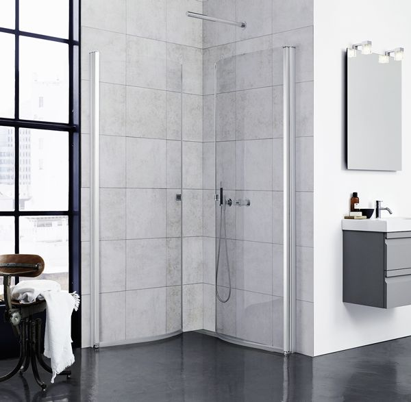 The Uniq shower screen is a stylish solution with inward-opening doors that free up the bathroom floor.