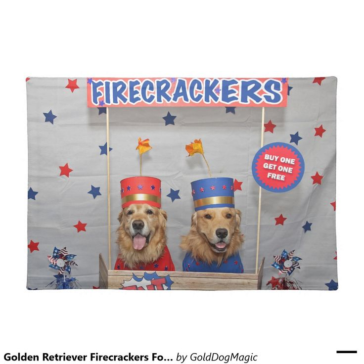 Golden Retriever Firecrackers For Sale Cloth Placemat