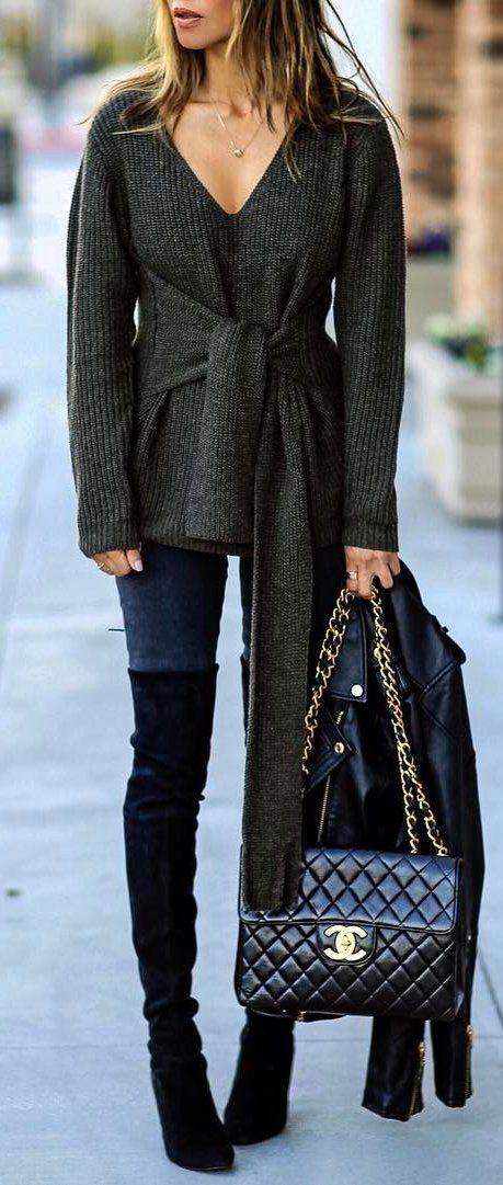 #winter #fashion /  Dark Bow V-neck Knit / Navy Skinny Jeans / Black Velvet OTK Boots / Black Quilted Leather Shoulder Bag