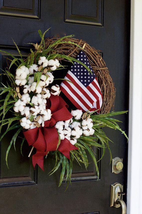 Patriotic Flag Wreath, Fourth of July Wreath, 4th of July Wreath, Summer Wreath, Front Door Wreath, Cotton Wreath, American Flag Wreath