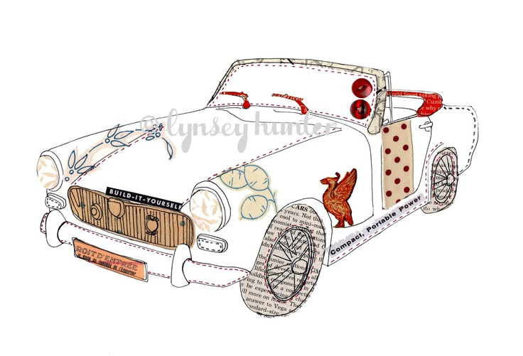 MG Midget - Ink and collage illustration. $20.00, via Etsy.