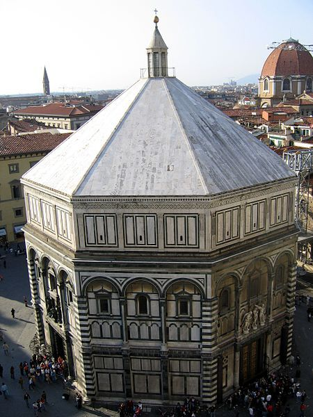 The Romanesque Baptistery of Florence was the object of Brunelleschi's studies of perspective