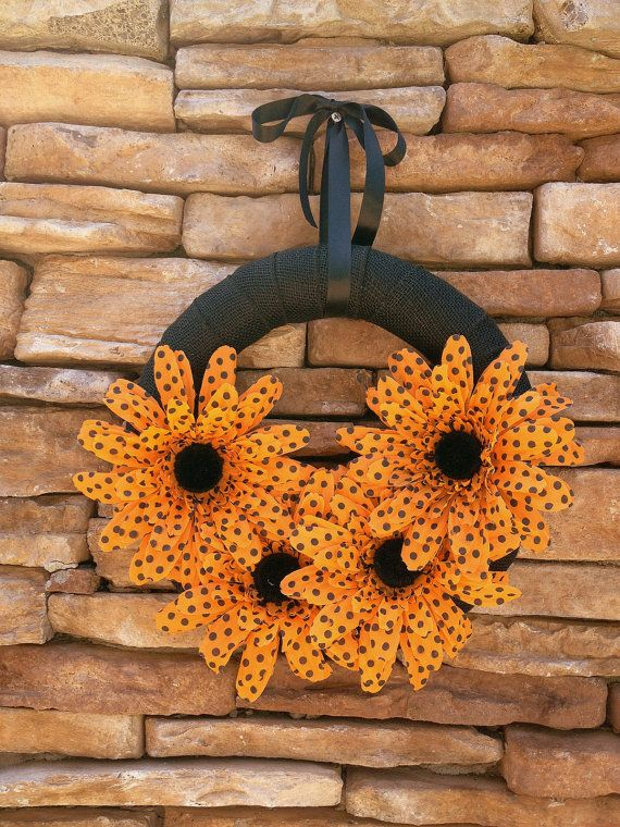 "Wreath in Halloween Colors, 12"" Burlap Wrapped Ring with Large Orange Polka Dot Flowers"