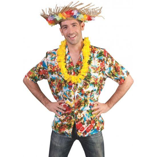 Vrolijk gekleurde Hawaii blouse Kauai. Een mooi gekleurde hawaii blouse met vrolijke figuren en een wit met blauwe achtergrond. Hawaii blouse Kauai met borstzakje. Deze blouse mag niet missen op een tropical party! Materiaal: 100% polyester. De blouse is in een lichte en donkere versie uitgevoerd. U krijgt een willekeurige toegestuurd.