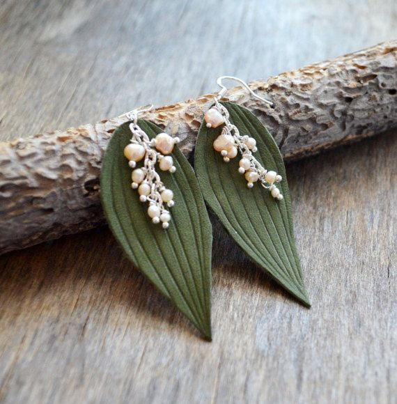 earrings may-lily leaves may-lily earrings by jewelryleather