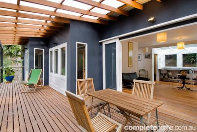 Great use of color and wood for the perfect combination. Indoor and outdoor settings could not look better.