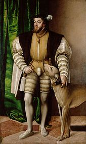 Hernán Cortés - Emperor Charles V with Hound (1532), a painting by the 16th-century artist Jakob Seisenegger.