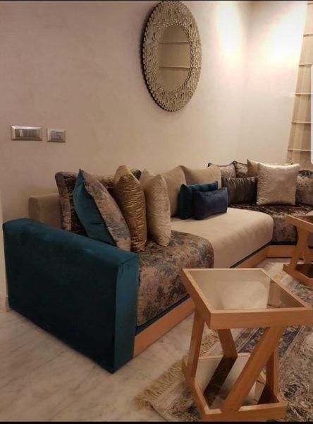 Salon marocain – salon marocain chic – table basse – Intérieur sur mesure