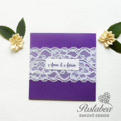 lila csipkés esküvői meghívó minta