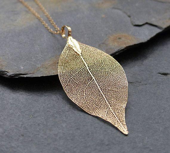 Collar hoja real oro de 18 K sumergido hoja lleno de