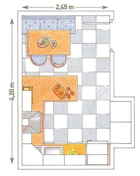 Plano con dos zonas; cocina en U y office