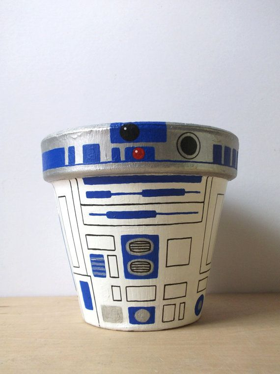 R2D2 Star Wars Hand Painted Flower Pot Droid Planter by GingerPots