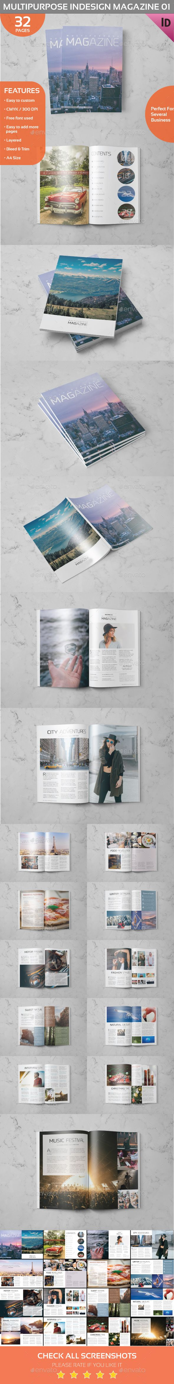 Multipurpose Magazine Template InDesign INDD - 32 Pages, A4 and US Letter Size