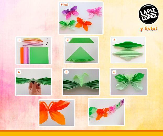 ¡Mariposas y muchos colores! Con el papel volantin #Melier puedes hacer todas las mariposas que desees, solo debes seguir el paso a paso de la imagen y ¡Listo!.