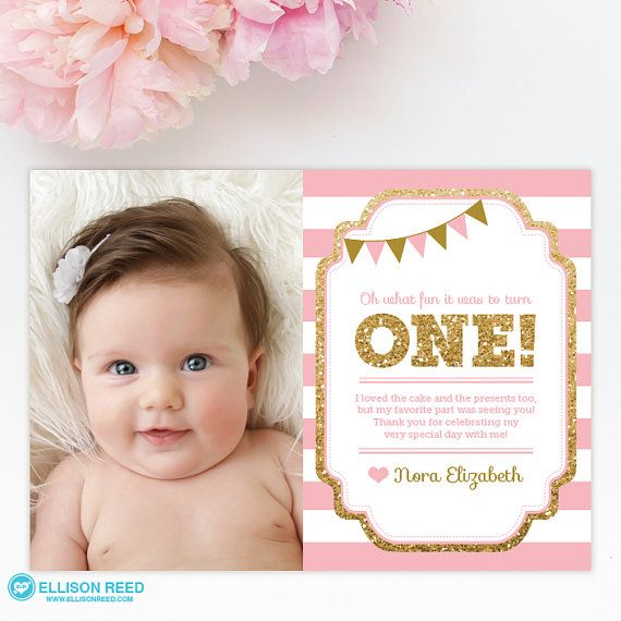 1st birthday thank you card, 1st birthday thank you note, pink and gold glitter…