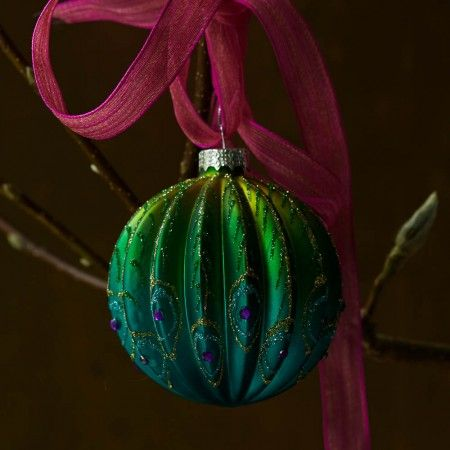 Ribbed Glass Peacock Ball - Tree Decorations - Christmas Home - Christmas