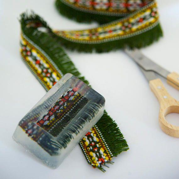 Artisan Soap Bar, Refreshing Scented Soap, Handmade Decorative Soap, Natural Face & Body Soap, Soap with Boho Yarn, Glycerin Soap, Gift Idea