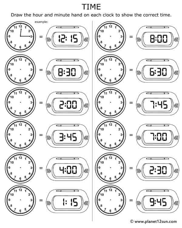telling time  free printable worksheet