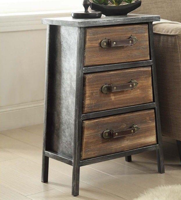 Industrial Rustic End Tables Wood Metal Nightstand Vintage Style