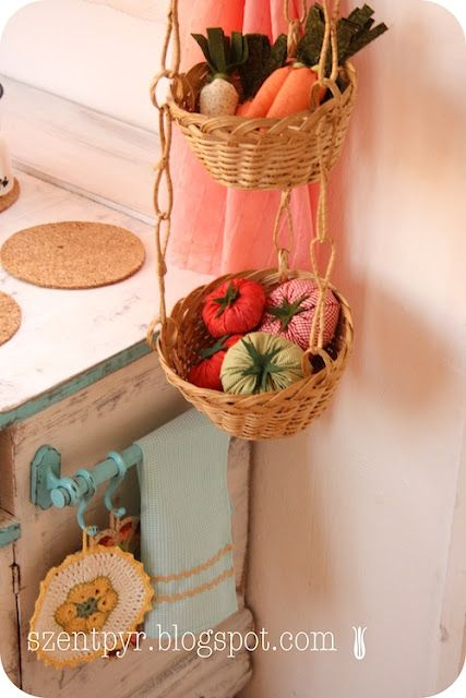 Kids play kitchen, with hanging basket idea