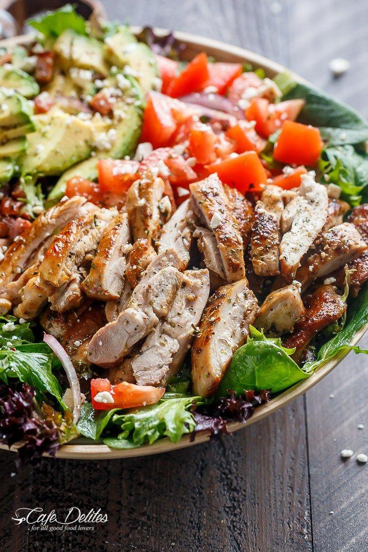 BLT Balsamic Chicken Avocado & Feta Salad   http://cafedelites.com