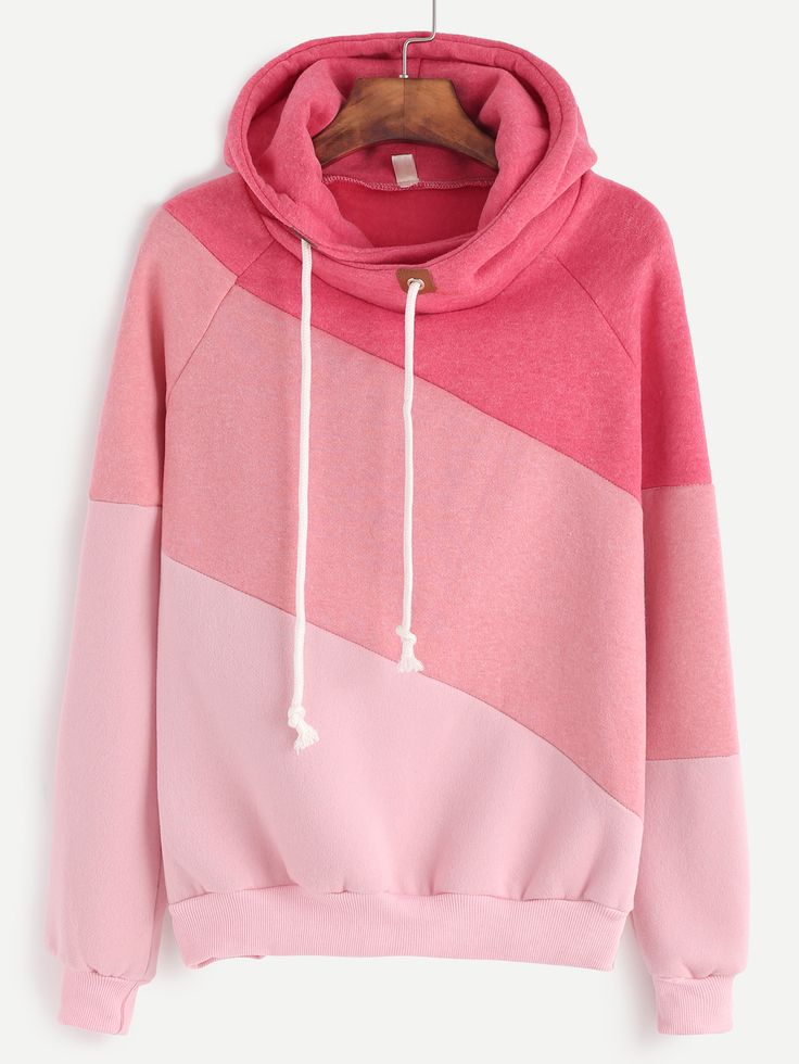 Color Block Cut And Sew Hoodie — 17.99 € ------------------------color: Pink size: L,M,S