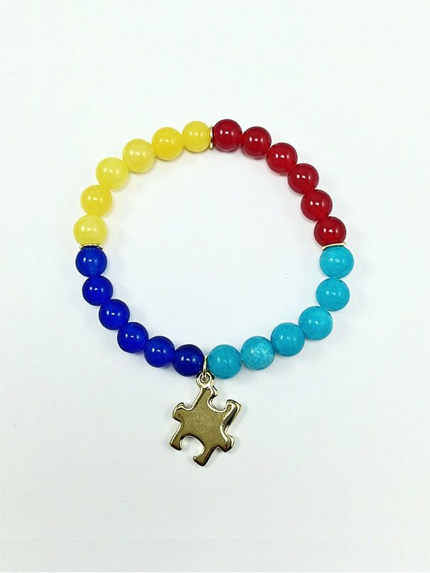 Autism Awareness Collection - 8mm Colored Jade Beads - Gold Plated Puzzle Charm - Gold Plated Jump rings - Average Fit: 6-7 Inch Wrist