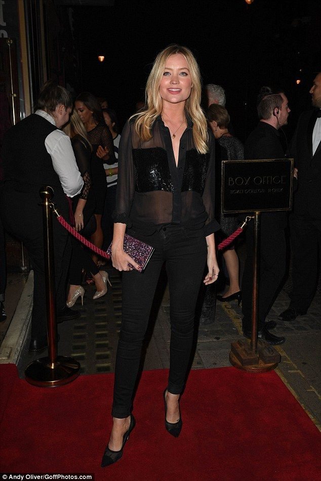 Glitter: The blonde TV presenter added a pair of skinny black jeans and heels to round off the chic yet sexy ensemble
