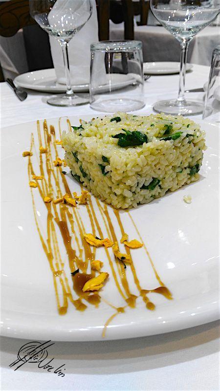 El risotto de espinaca y queso de ricota …. Con caramelo de vino