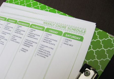 Yes! Yes! Weekly Chore Schedule- making the home a well-oiled machine (of love, happiness and productivity). :) Love project girl!