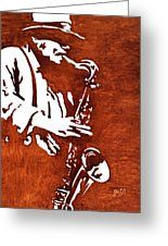 Jazz Saxofon Player Coffee Painting Greeting Card