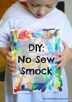How to make a cheap and easy art smock for kids using only a pair of scissors and an old t-shirt.