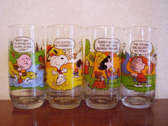 1983 Camp Snoopy collectible Peanuts glasses from by 2rivers