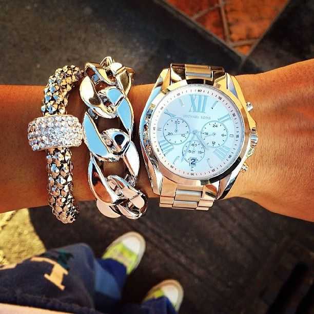 Michael kors watch and silver accessories