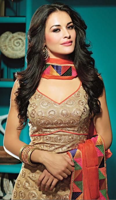 Beige Orange Chanderi Silk Festive Wear Designer Salwar Suit