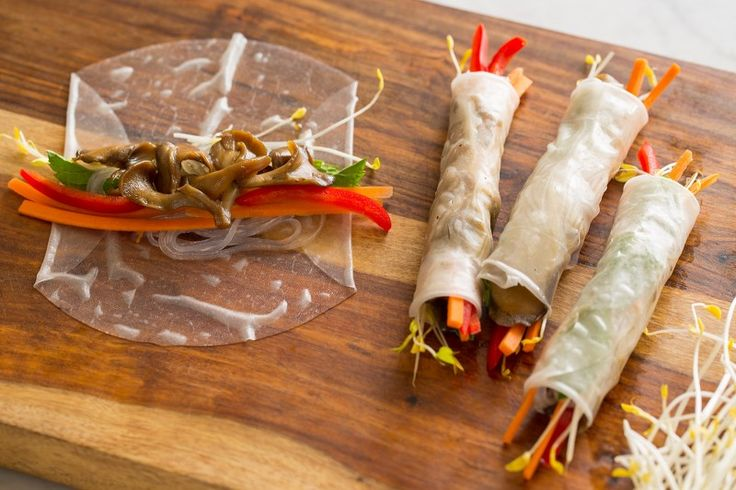 Tamari Glazed Maitake Spring Rolls | Spoon Fork Bacon: Rice Paper Wraps, Summer Rolls, Food Vegetarian, Veggie Vegan, Spring Rolls, Recipes Healthy, Rolls Recipe